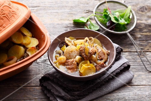 Alsatian Baeckeoffe (stew made from potatoes, onions, mutton, beef, and pork)