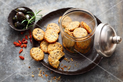 Olive crackers with chilli and Parmesan cheese