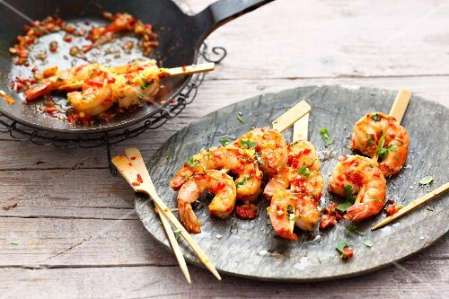 Oriental prawn skewers with chilli and fresh coriander