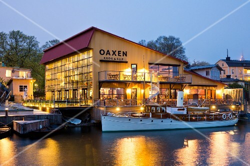 Restaurant Oaxen Krog run by chef Magnus Ek, Stockholm, exterior shot in the evening
