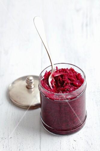Red sauerkraut with caraway seeds