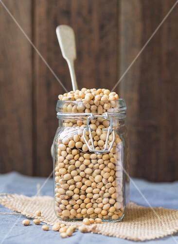 Soya beans in a flip-top jar