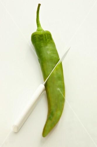 A green Anaheim pepper with a knife