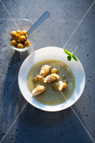 Gooseberry soup with crispy coconut and labneh balls