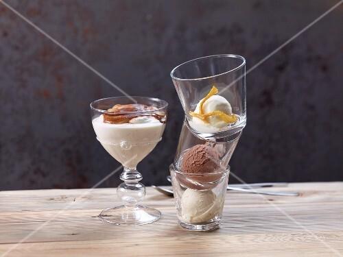 Espresso-on-top dessert and lemon, vanilla and chocolate ice cream in glasses