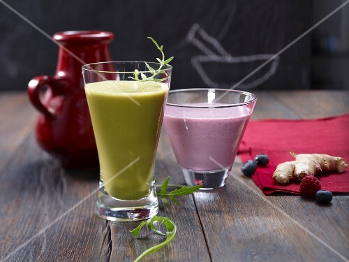 A rocket shake, and a berry and ginger shake