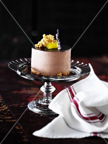 Chocolate flan with a biscuit base and chocolate glaze