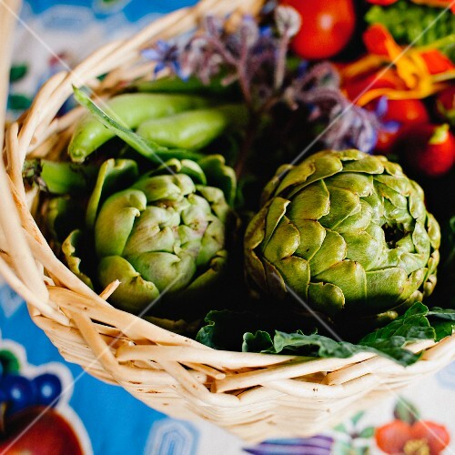 Fresh artichokes and tomatoes in a basket