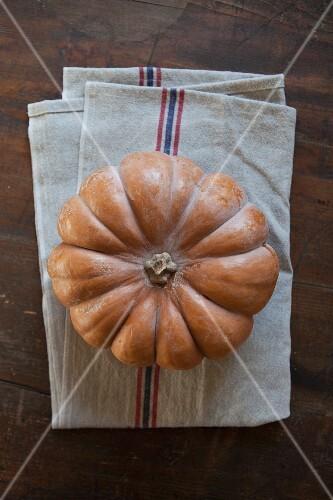 A pumpkin on a tea towel (seen from above)