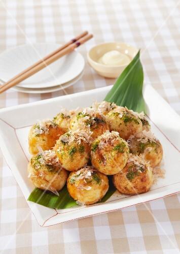 Takoyaki (octopus dumplings, Japan)