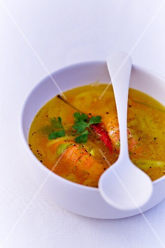 Consomme with scampi