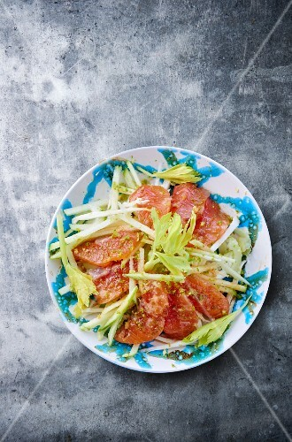 Celery salad with salmon