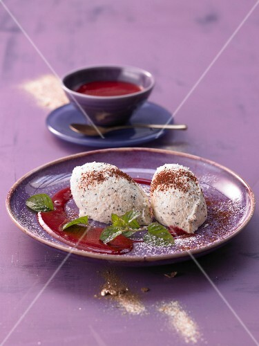 Marzipan and poppyseed mousse with raspberry sauce