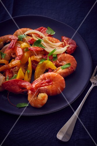 Prawns with peppers