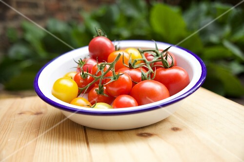 Various tomatoes in a bowl on a garden table
