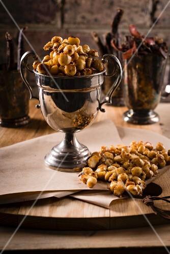 Macadamia nut caramel with ground black pepper and Maldon salt
