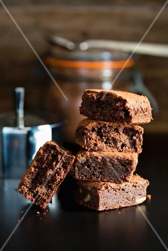 A stack of rich chocolate brownies