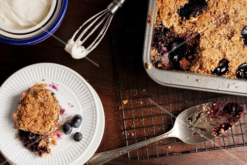 Warm blueberry crumble, sliced