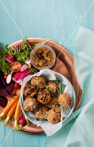 Lamb curry croquettes with a spicy apple chutney