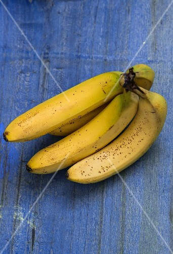 Bananas on a blue surface