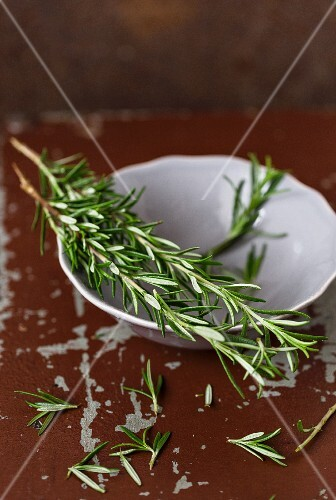 Spigs of rosemary on a brown varnished surface