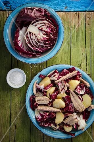 Radicchio and potato salad with mackerel
