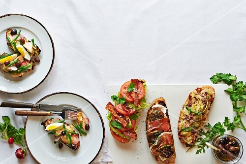 Various tartines (French open sandwiches)