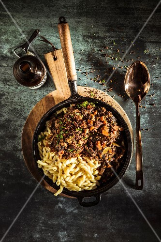 Oxtail ragout with spiral pasta