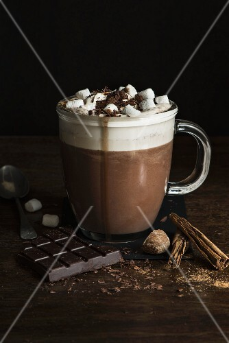 Spiced hot chocolate with cream and marshmallows