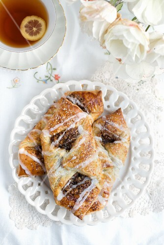 Danish pastries with a pecan nut filling