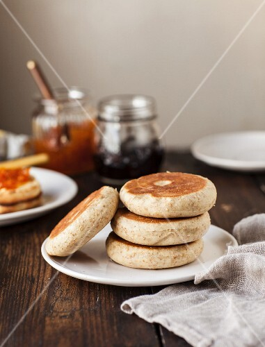 A plate of English muffins