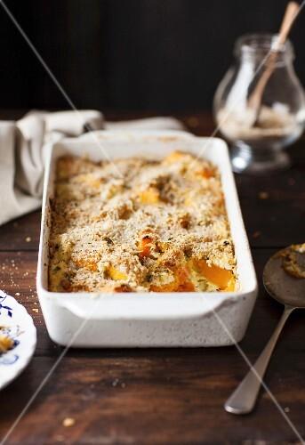 Pumpkin gratin with Parmesan cheeesein a baking dish