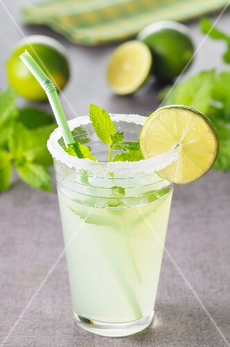 A Mojito (cocktail made with rum, lime juice and mint leaves)