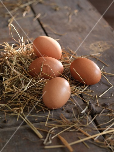 For brown hen's eggs on straw