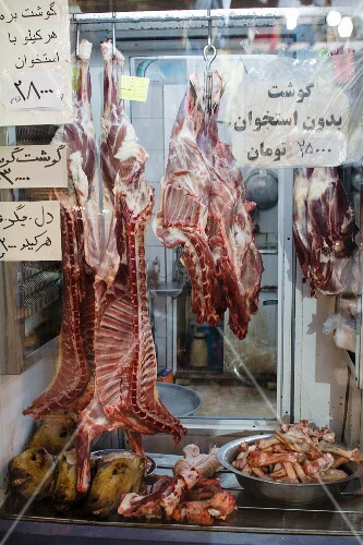 Lamb on display in the window of a butcher's at a market in Isfahan (Iran)