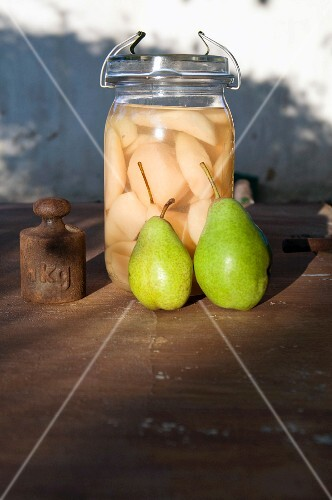 Grandma's recipe: a jar of preserved pears