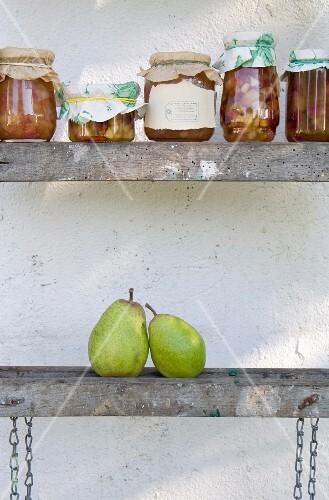 Grandma's recipe: jars of homemade pear and onion chutney