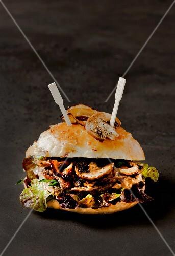 A game and mushroom burger