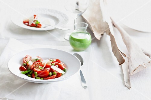 Tomato salad with beans and Parmesan cheese