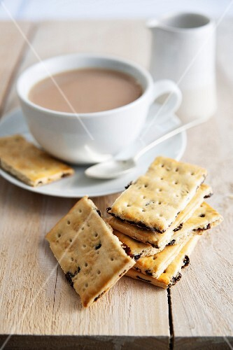 Garibaldi biscuits with a cup of tea
