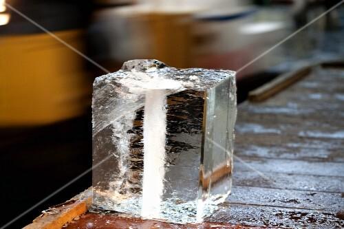 A large block of ice at the Tsukiji fish market in Tokyo, Japan