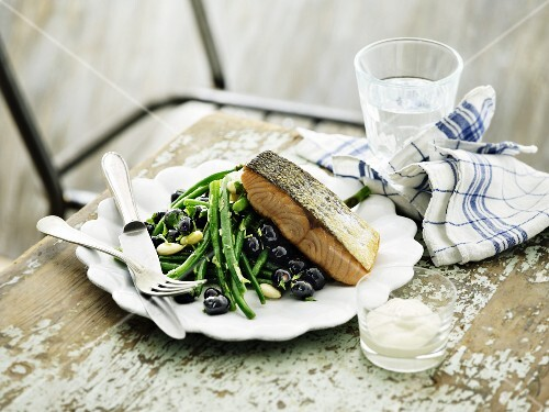 Salmon on a bean and blueberry salad
