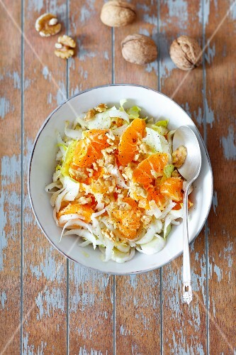 chicory and mandarin salad with walnuts (seen from above)