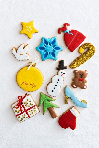 Various colourful Christmas biscuits