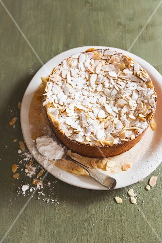 Almond cake with icing sugar