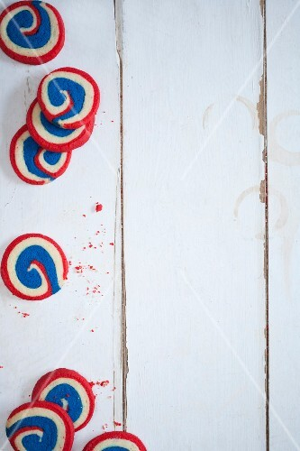 Red, white and blue spiral biscuits