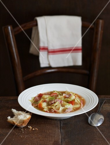 Cabbage soup with bread