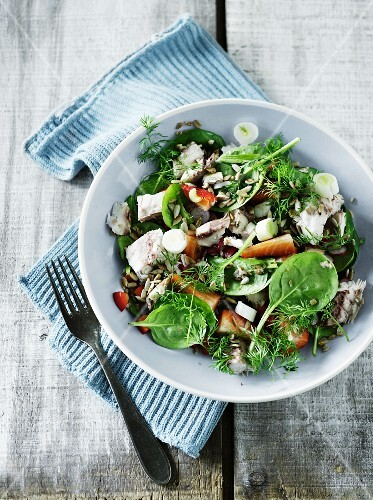 A colourful salad with mackerel