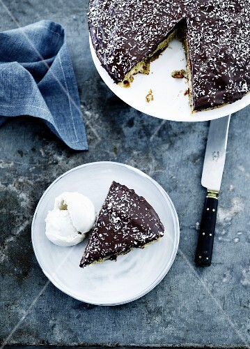 Spiced cake with chocolate icing