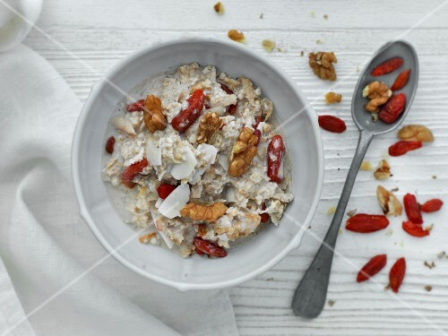 Bircher muesli with walnuts and dried goji berries (seen from above)